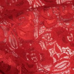 Ткань гипюр стрейчевый розочки красный (метр )