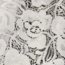 Ткань гипюр стрейчевый розочки белый (метр )