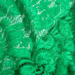Ткань гипюр стрейчевый розочки зеленый (метр )