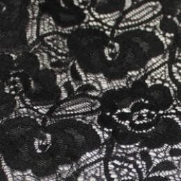 Ткань гипюр стрейчевый розочки черный (метр )