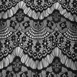 Ткань гипюр стрейчевый реснички (черный) (метр )