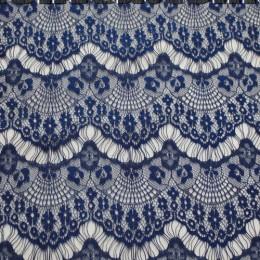 Ткань гипюр стрейчевый реснички (темно-синий) (метр )