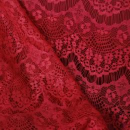Ткань гипюр стрейчевый реснички (красный) (метр )