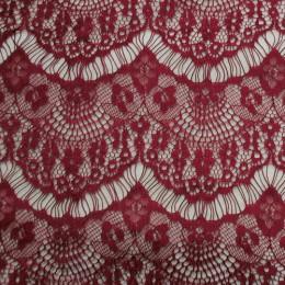 Ткань гипюр стрейчевый реснички (марсала) (метр )