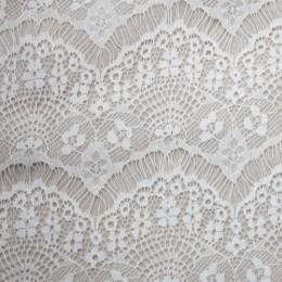 Ткань гипюр стрейчевый реснички (молочный) (метр )