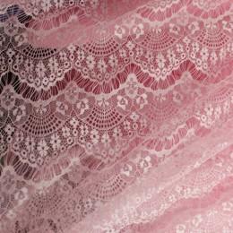 Ткань гипюр стрейчевый реснички (розовый) (метр )