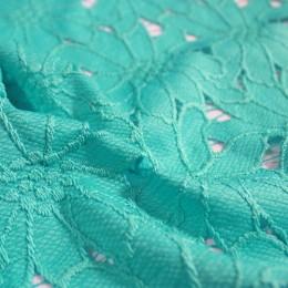 Ткань гипюр плотный бирюзовый  (метр )