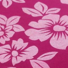 Ткань футер двунитка принт цветы на малиновом (метр )