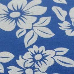 Ткань футер двунитка принт цветы на синем (метр )