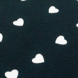Ткань футер двунитка принт сердечки на темно-синем (метр )