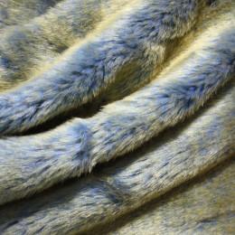 Мех дубляж голубой (голубой мутон с жетыми кончиками+голубая замша) (метр )