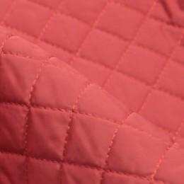 Ткань плащевка стеганная на синтепоне коралловая (ромб 2.5см) (метр )