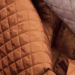 Ткань плащевка стеганная на синтепоне коричневая (ромб 2.5см) (метр )