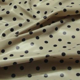 Ткань плащевка лаке горох (бежевый+черный) (метр )