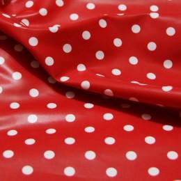 Ткань плащевка лаке горох (красный+белый) (метр )
