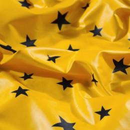 Ткань плащевая лаке принт звезды черные на желтом (метр )