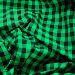 Ткань рубашечная клетка зеленый-черный (метр )