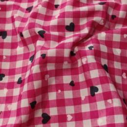 Ткань рубашечная клетка розовый-белый (метр )