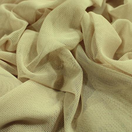 Ткань сетка стрейч бежевая (метр )