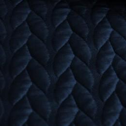 Ткань стеганый трикотаж кожа косичка (темно-синий) (метр )