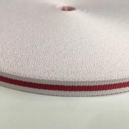 Тесьма репсовая производство 10мм белая 1п красная (50 метров)