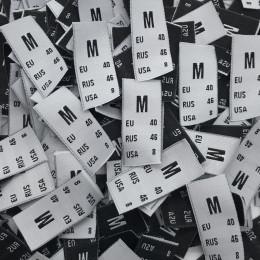 Этикетка жаккардовая вышитая размер M 15мм белый (1000 штук)