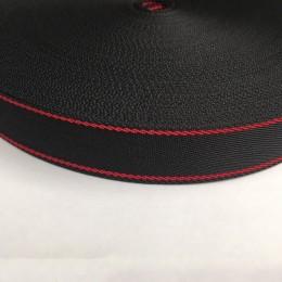 Тесьма репсовая производство 25мм черная 2п красные (50 метров)