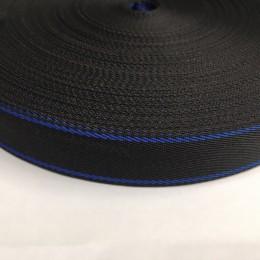 Тесьма репсовая производство 25мм черная 2п василек (50 метров)