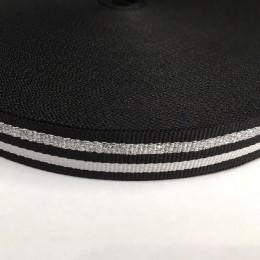 Тесьма репсовая производство 25мм черная 2п серебро (50 метров)