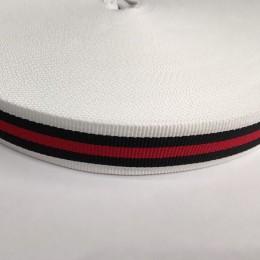 Тесьма репсовая производство 25мм белая 1п красная 2п черных (50 метров)