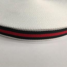 Тесьма репсовая производство 20мм белая 1п красная 2 черных (50 метров)