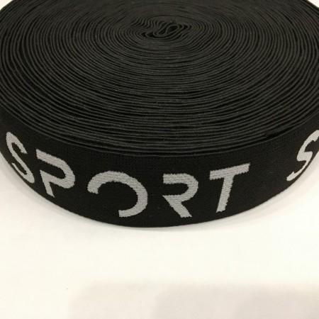 Резинка с логотипом Sport Style №2 40мм черно белая (метр )