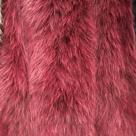 Опушка из натурального меха песец 70см двойная ширина 11см красный (Штука)