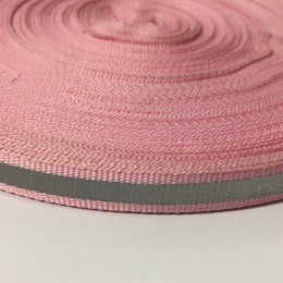 Тесьма светотражающая 1см розовый (50 метров)