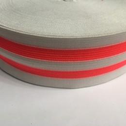 Резинка 50мм белая 2 полосы оранжевые (25 метров)