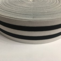 Резинка 50мм белая 2 полосы черные (25 метров)
