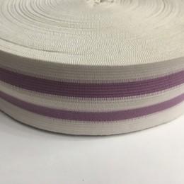Резинка 50мм белая 2 полосы сиреневые (25 метров)