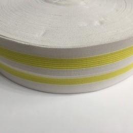 Резинка 50мм белая 2 полосы желтые (25 метров)