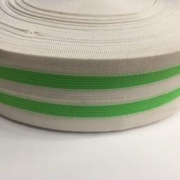 Резинка 50мм белая 2 полосы зеленые (25 метров)