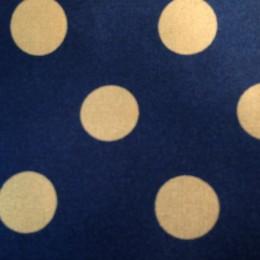 Ткань атлас стрейч горох синий с золотом (20мм) (метр )