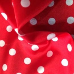 Ткань атлас стрейч горох красный с белым (15мм) (метр )