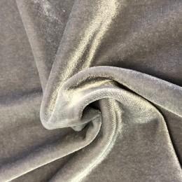 Ткань бархат стрейч свело серый (метр )