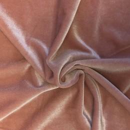 Ткань бархат стрейч персиковая пудра (метр )
