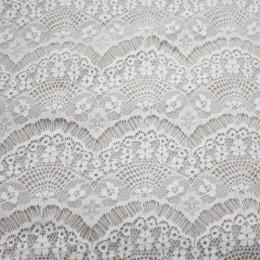 Ткань гипюр стрейчевый реснички (белый) (метр )