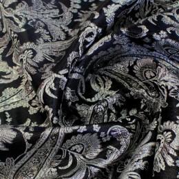 Ткань парча жаккард черное с серебром (метр )