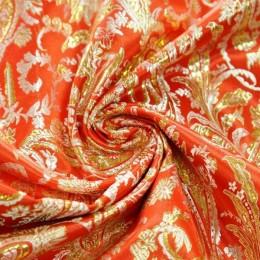 Ткань парча жаккард красный с золотом (метр )