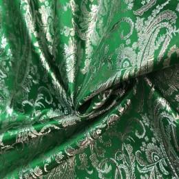 Ткань парча жаккард зеленая (метр )