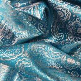 Ткань парча жаккард голубая бирюза с серебром (метр )
