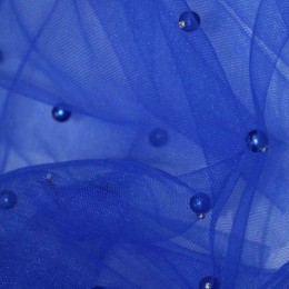 Ткань сетка с бусинами электрик (метр )