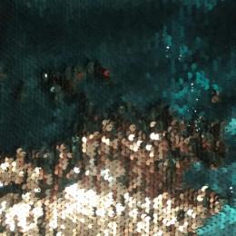 Ткань пайеточная (чешуя) изумруд с золотом (метр )
